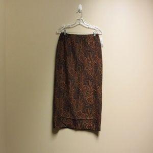 Pursuits ltd. Autum Paisley Long Skirt Size 8